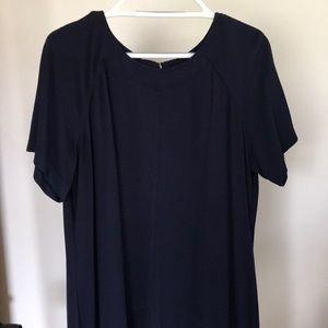 Sharagano Navy Short sleeve Midi Dress w/ Zippers